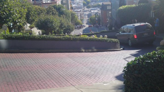 Driving down Lombard St