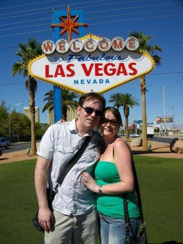 Tourists at Las Vegas sign