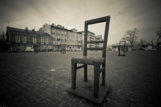 Plac Bohaterow Getta square - 'Chairs' memorial to commemorate the Jewish victims of the Holocaust