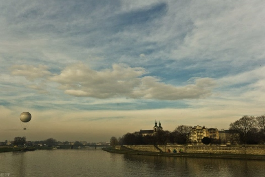 Tethered balloon above the River Wisla