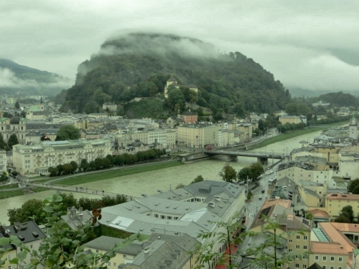 Up in the Monchsberg elevator to be greeted with Salzburg shrouded in mist..