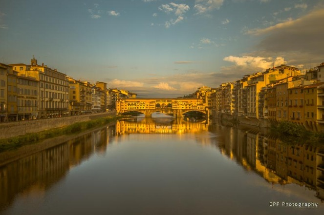 Sunset light on the Ponte Vecchio bridge