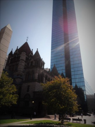 Trinity Church and the Hancock Tower — at Copley Square.