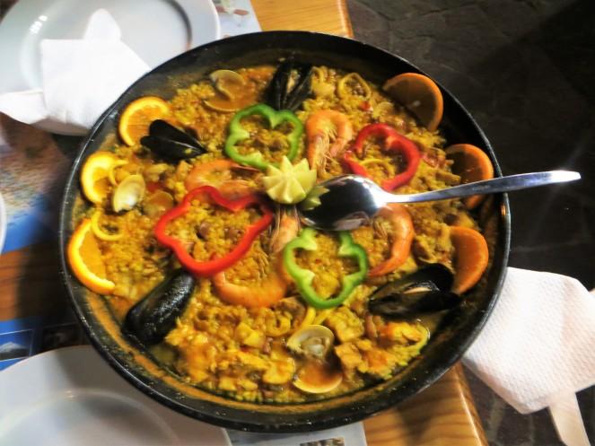 Seafood paella at Los Gigantes, Tenerife