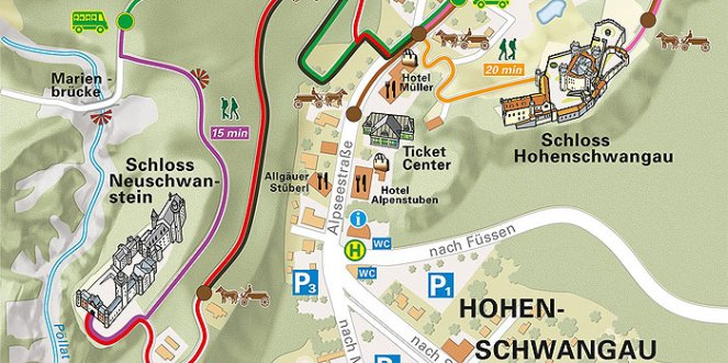 How to get from Hohenschwangau (car park /Ticketcenter) to Neuschwanstein Castle