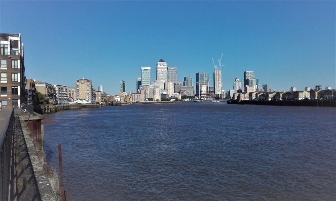 The view of Canary Wharf as we walked along the Thames Path from Limehouse Basin