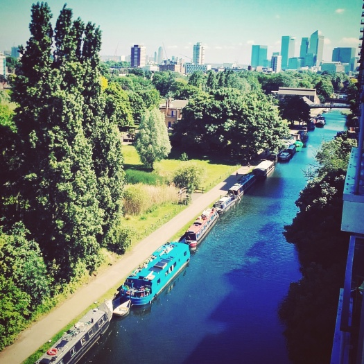 We stayed at an AirBnB in Mile End; this was our view down Regents Canal towards Canary Wharf