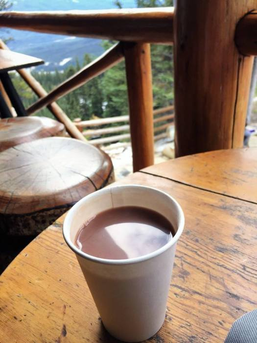 A very welcome hot chocolate at the Lake Agnes tea house!