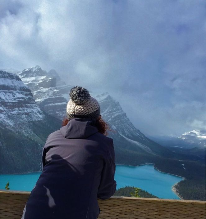 A Brummie Home and Abroad admires the mountain and lake vista of Peyto Lake