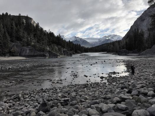 A lonely figure walks the rocky shores of the Bow River