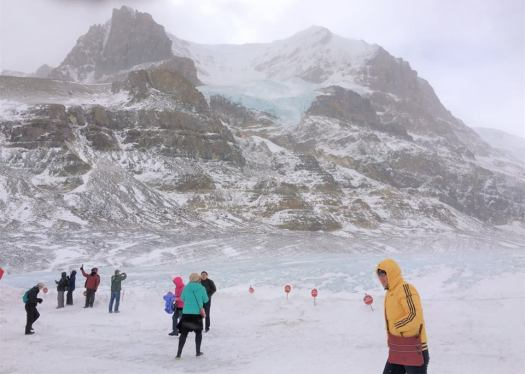 Visitors to the glacier, in a bright array of outerwear contract to the whites and blues of the glacier