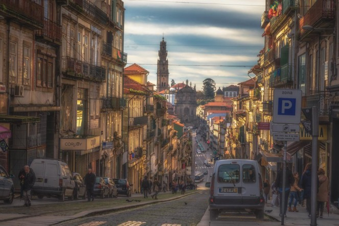 The hilly cobbled streets of Porto