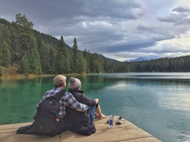 A Brummie Home and Abroad and Mr Fletche snuggle up on a jetty overlooking Fifth Lake in Jasper National Park