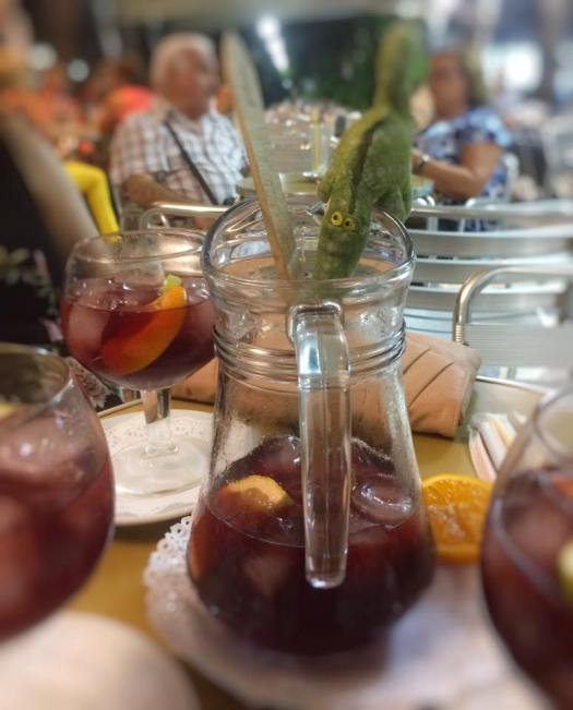 A jug of red wine sangria in Alicante