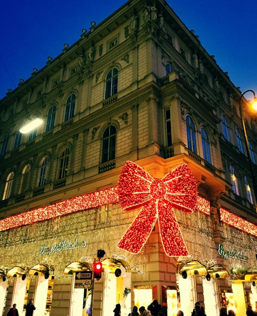Vienna's buildings all wrapped up for Christmas in illuminated bows