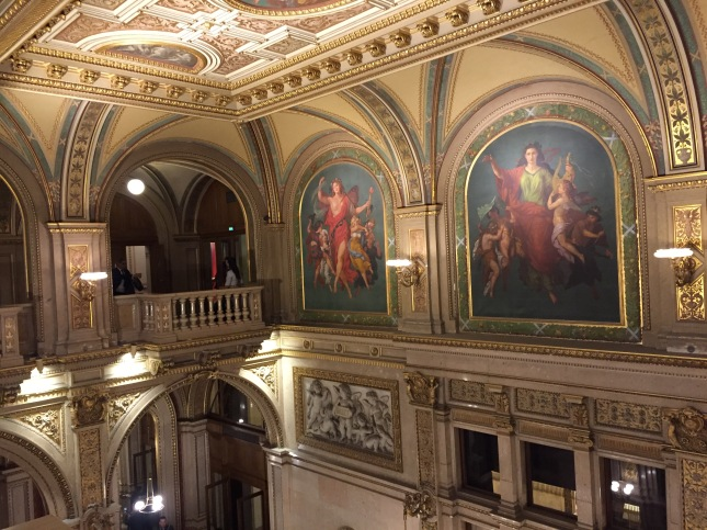 The ceiling and frescoes of the Vienna State Opera House