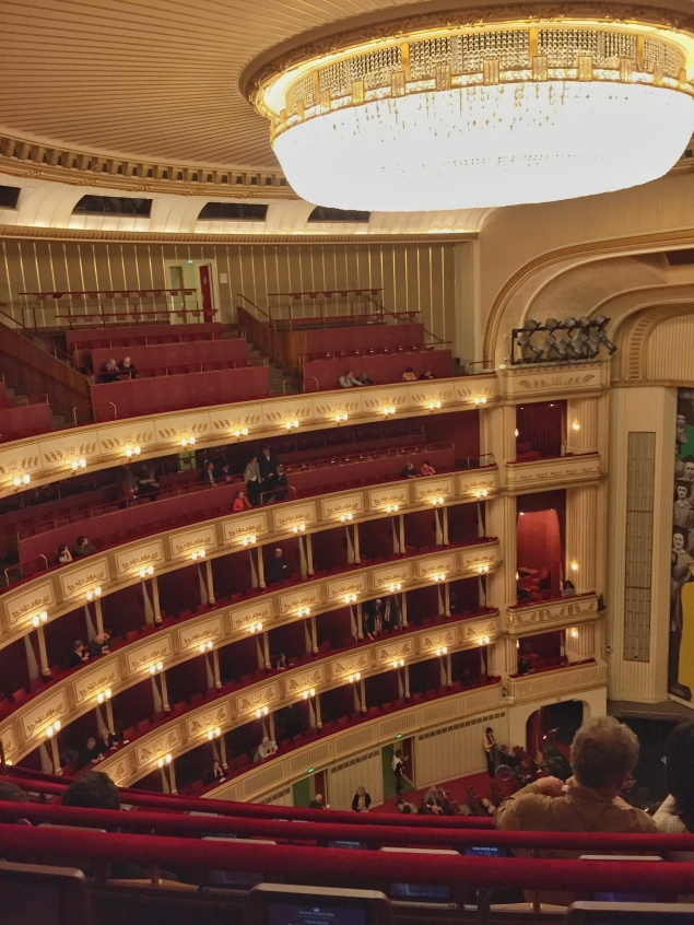 The upper levels of the Vienna State Opera House