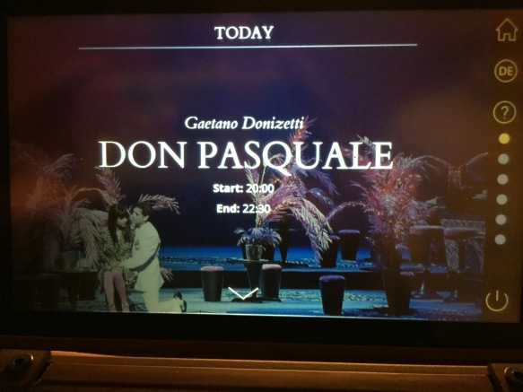 The subtitle screen for Don Pasquale at the Vienna State Opera House