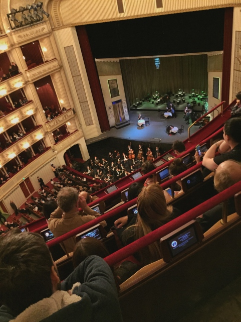 A view from the Upper Gallery of the opening stage set for Don Pasquale at the Vienna State Opera House