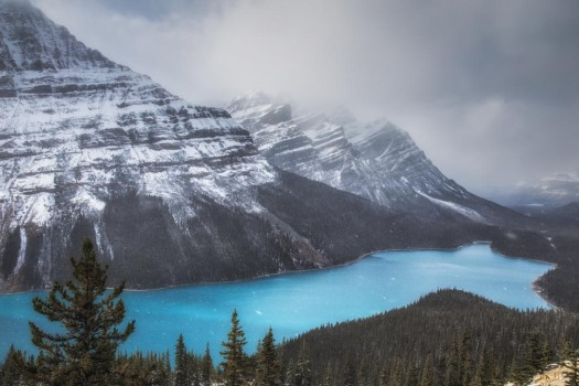 Glacial blue lake, mountains, banff, canadian rockies, icefield parkway, peyto lake