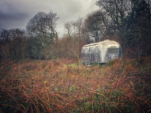 The silver Airstream caravan, one of four rental accommodations available at Wildernest