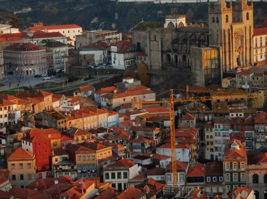 City views at sunset from Porto's Torre De Cleros