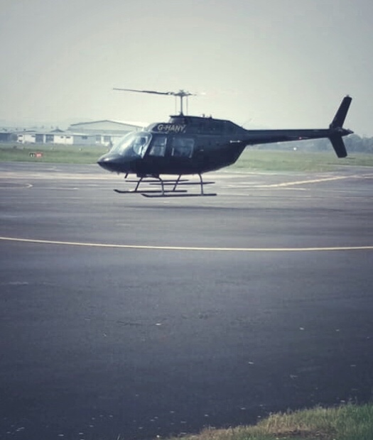 Helicopter landing at Gloucester Airport