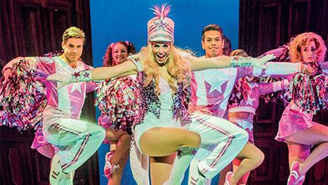 Cheerleaders in pink, Lucie Jones as Elle Woods in Legally Blonde The Musical