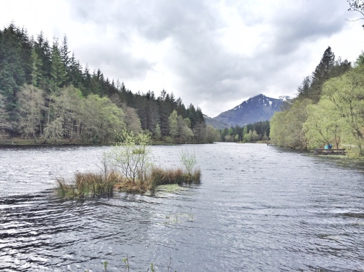 loch in Glencoe surrounded by trees and mountains