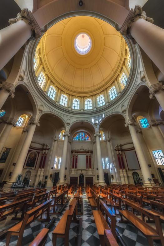Church interior, church of Saint John the Baptist, Gozo, Malta.