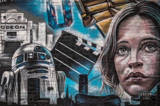 Street Art by Andrew Mills aka Title - depicting Birmingham's relationship with Odeon cinemas and two Birmingham-based Star Wars actors