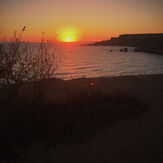 Sunset over sea, Ghajn Tuffieha Bay, Malta