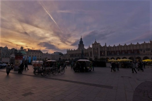 Krakow Town Square at twilight, Rynek Glowny