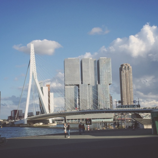 Erasmusbrug Rotterdam, with the De Rotterdam skyscraper in the background